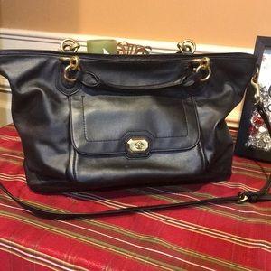 COACH Campbell Turnlock Grey Black Leather Handbag